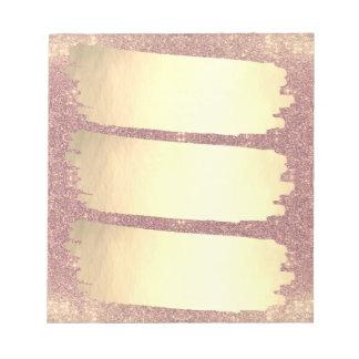 Lista cor-de-rosa da faísca da folha de ouro do bloco de notas