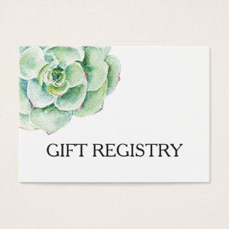 lista de presentes do casamento do succulent da cartão de visitas