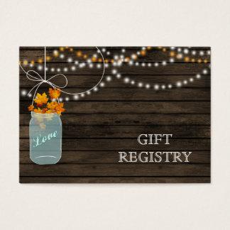 Lista de presentes rústica dos frascos de pedreiro cartão de visitas