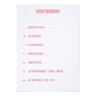 Lista de verificação/rosa rotineiros do bom dia convite