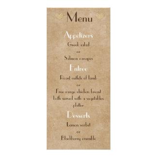 Lista rústica do menu do casamento do coração do