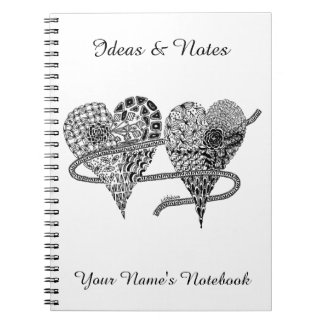 Listakora dois corações personalizou o caderno