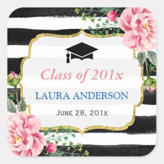 Listra 2017 branca preta floral da graduação adesivo quadrado