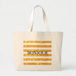 Listra alaranjada Bokeh de Bonjour Sacola Tote Jumbo