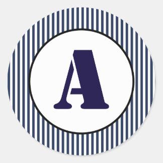 Listra azul & branca - etiqueta do círculo
