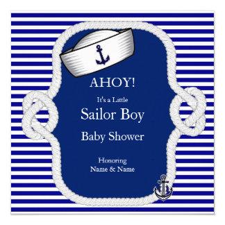 Listra azul do menino do chapéu do marinheiro do convite quadrado 13.35 x 13.35cm