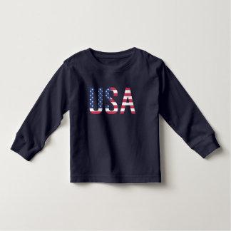 Listra azul vermelha da estrela branca do texto da camiseta infantil