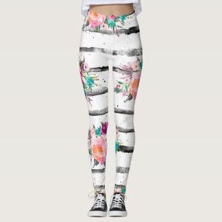 Listra branca preta moderna da aguarela floral na leggings