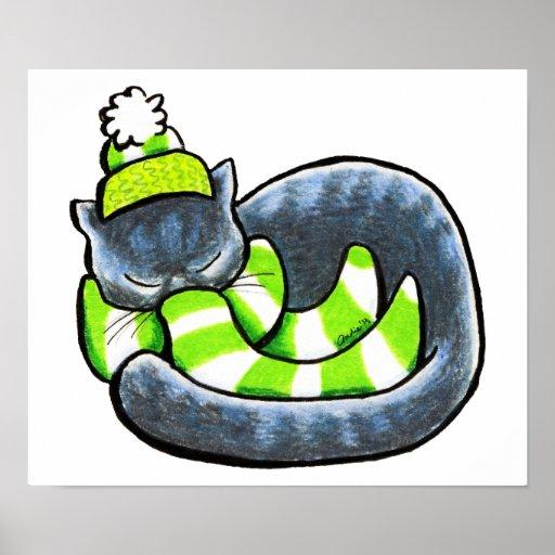 Listra cinzenta do verde do inverno do lenço do ga impressão