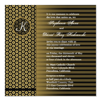 Listra clássica do ouro do monograma do convite do convite quadrado 13.35 x 13.35cm