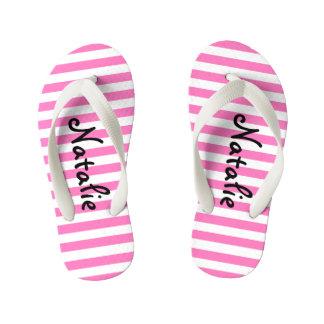 Listra cor-de-rosa e branca bonito personalizada chinelos infantis