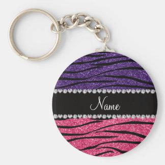 Listra cor-de-rosa roxa conhecida personalizada da chaveiros