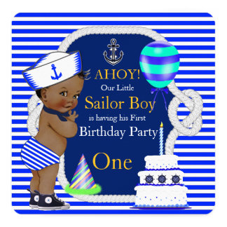 Listra de azuis marinhos do menino de marinheiro convite quadrado 13.35 x 13.35cm