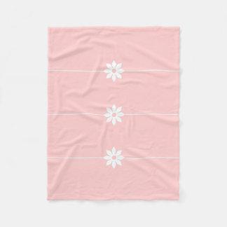 Listra de rosa de bebê e branca da flor cobertor de lã