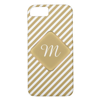 Listra diagonal do ouro & do monograma branco capa iPhone 7