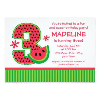 Listra do aniversário de 3 anos da melancia convites