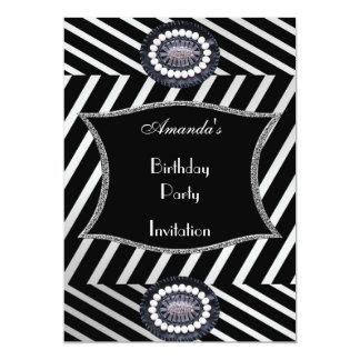 Listra do branco do preto da festa de aniversário convite personalizado