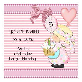 Listra do branco do rosa do aniversário de 3 anos  convite personalizados