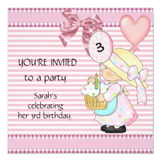 Listra do branco do rosa do aniversário de 3 anos convite quadrado 13.35 x 13.35cm