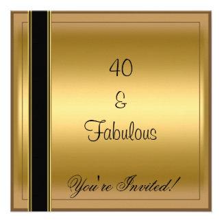 Listra fabulosa do preto do aniversário de 40 anos convites personalizado