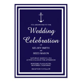 Listra náutica do marinho: Convite do casamento