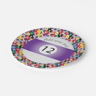 Listra número doze das bolas de piscina do bilhar prato de papel