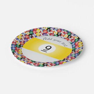 Listra número nove das bolas de piscina do bilhar prato de papel