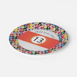 Listra número treze das bolas de piscina do bilhar prato de papel