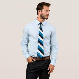Listra ocasional do branco do preto azul da listra gravata