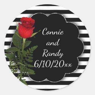 Listra preto e branco com etiqueta da rosa