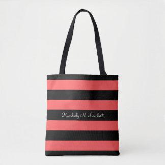 Listra vermelha & preta quente sacola bolsa tote