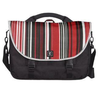 Listra vermelha, preto e branco mochila para laptop