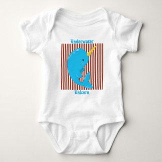 Listra Vermelho-Branca do tijolo•Narwhal ártico Body Para Bebê