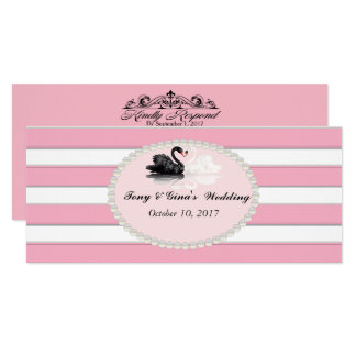 Listrado cor-de-rosa & cisnes que Wedding cartões