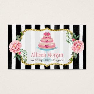 Listrado floral do rosa do ouro do design do bolo cartão de visitas