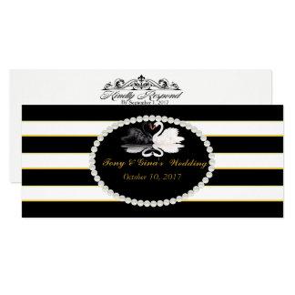 Listrado preto & cisnes que Wedding cartões de
