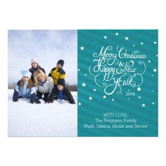 listras 2014 azuis do cartão do feriado do Natal Convites Personalizado