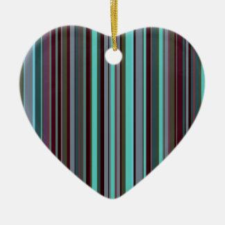 Listras 60s retros brilhantes ornamento de cerâmica coração