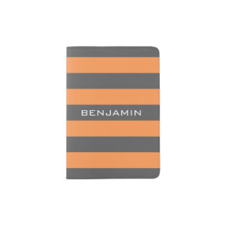 Listras alaranjadas e cinzentas do rugby com nome capa para passaporte