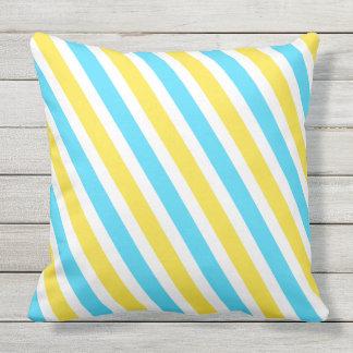 Listras amarelas azuis frescas do verão almofada