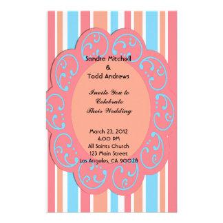 Listras azuis alaranjadas que Wedding convites Papelaria Personalizada