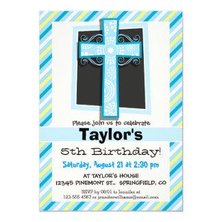 Listras azuis da cruz, as azuis & as amarelas convite 12.7 x 17.78cm