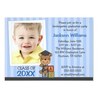 Listras azuis do urso da graduação da foto do convite 12.7 x 17.78cm
