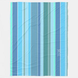 Listras azuis do verde da cerceta cobertor de lã
