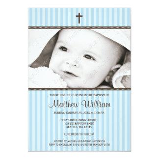 Listras azuis e baptismo transversal da foto do convite 12.7 x 17.78cm
