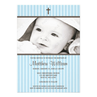 Listras azuis e baptismo transversal da foto do me convites personalizados