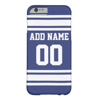 Listras azuis e brancas com nome e número capa barely there para iPhone 6