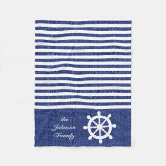 Listras azuis escuro e brancas náuticas cobertor de lã