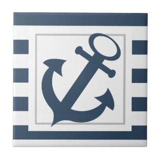 Listras azuis náuticas com âncora
