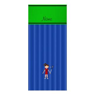 Listras azuis personalizadas da menina conhecida panfletos informativos